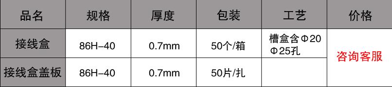 86接线盒规格