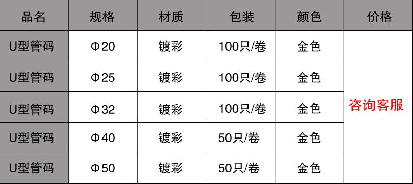 u型管码规格价格